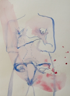"serie: ""Ovarian palace"" ink on paper, 41 x 30"