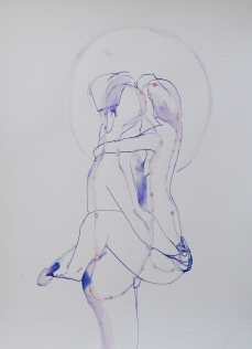 """serie: """"Ovarian palace"""" ink on paper, 41 x 30"""