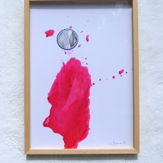 """Serie: """"Different universes"""" magenta , Ink on paper, 60x45 cm"""